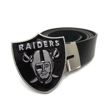 Oakland RAIDERS NFL Men's Black Belt Big Metal Buckle Super Bowl Football  - $34.99