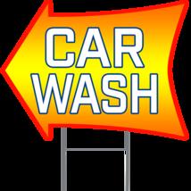 "Car Wash (Arrow)  24"" x 18"" Double Sided Road Yard Sign: Heavy Duty Stake - $35.00"