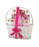 Mother's Day Bath Package Precious Poppies Spa Set in White Wicker Gift ... - $17.95