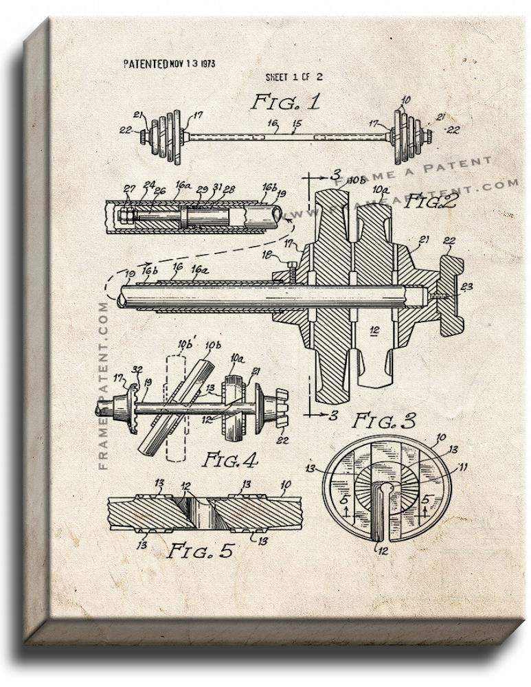 Primary image for Barbell Patent Print Old Look on Canvas