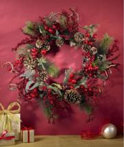 "24"" Christmas Wreath Holiday Floral Door Berries Pine Cones Wall Decor W... - $89.97"