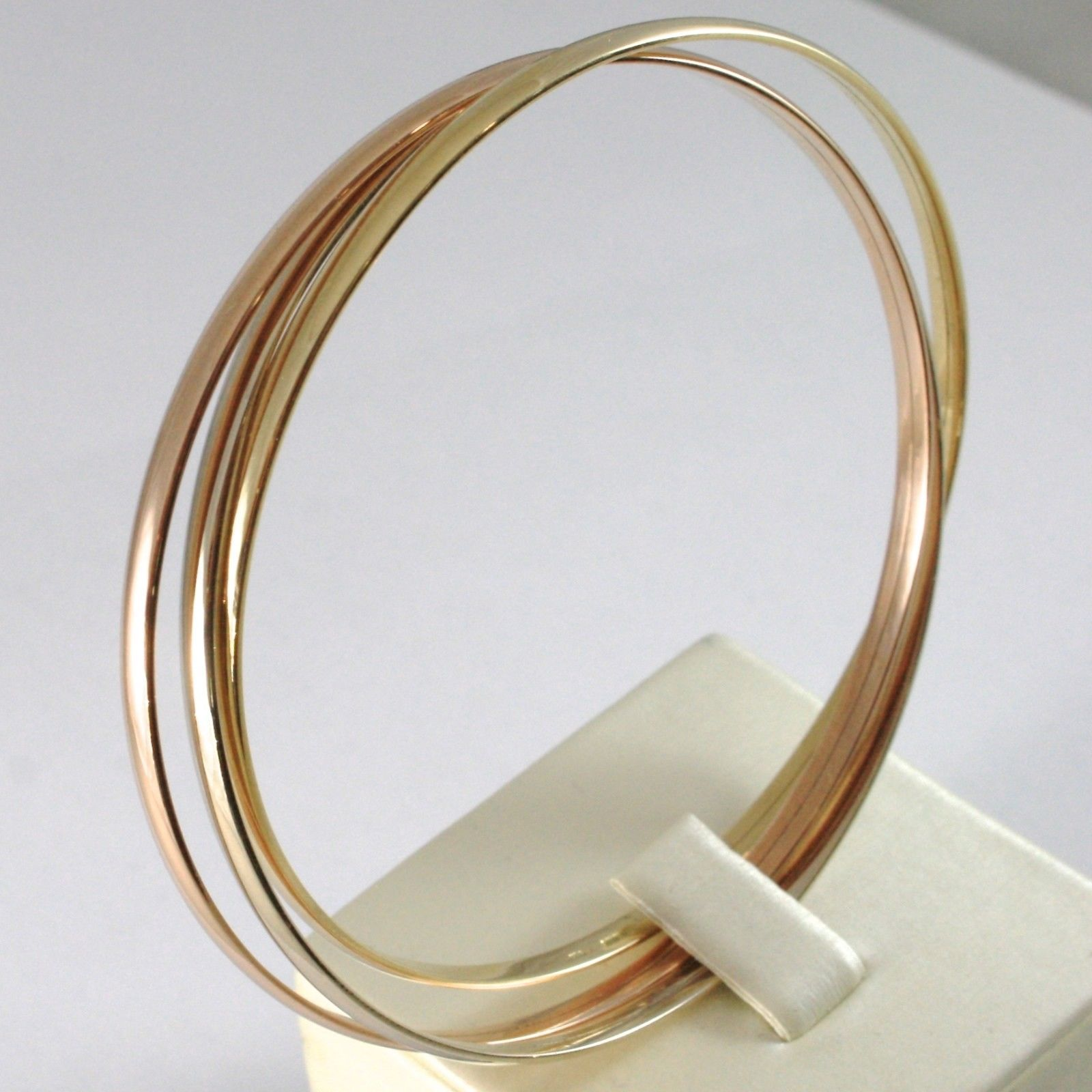 BRACELET YELLOW GOLD WHITE AND PINK 750 18K, TRIPLE, TRIS, ROD FLAT