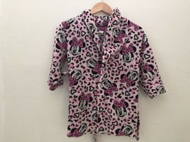 Minnie Mouse Bath Robe Girls Pink Animal Print Plush Fleece Disney Size ... - $13.86