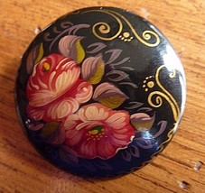 Vintage 1993 Signed PALEH Hand Painted Black Lacquer FLORAL Round Pin Br... - $22.49