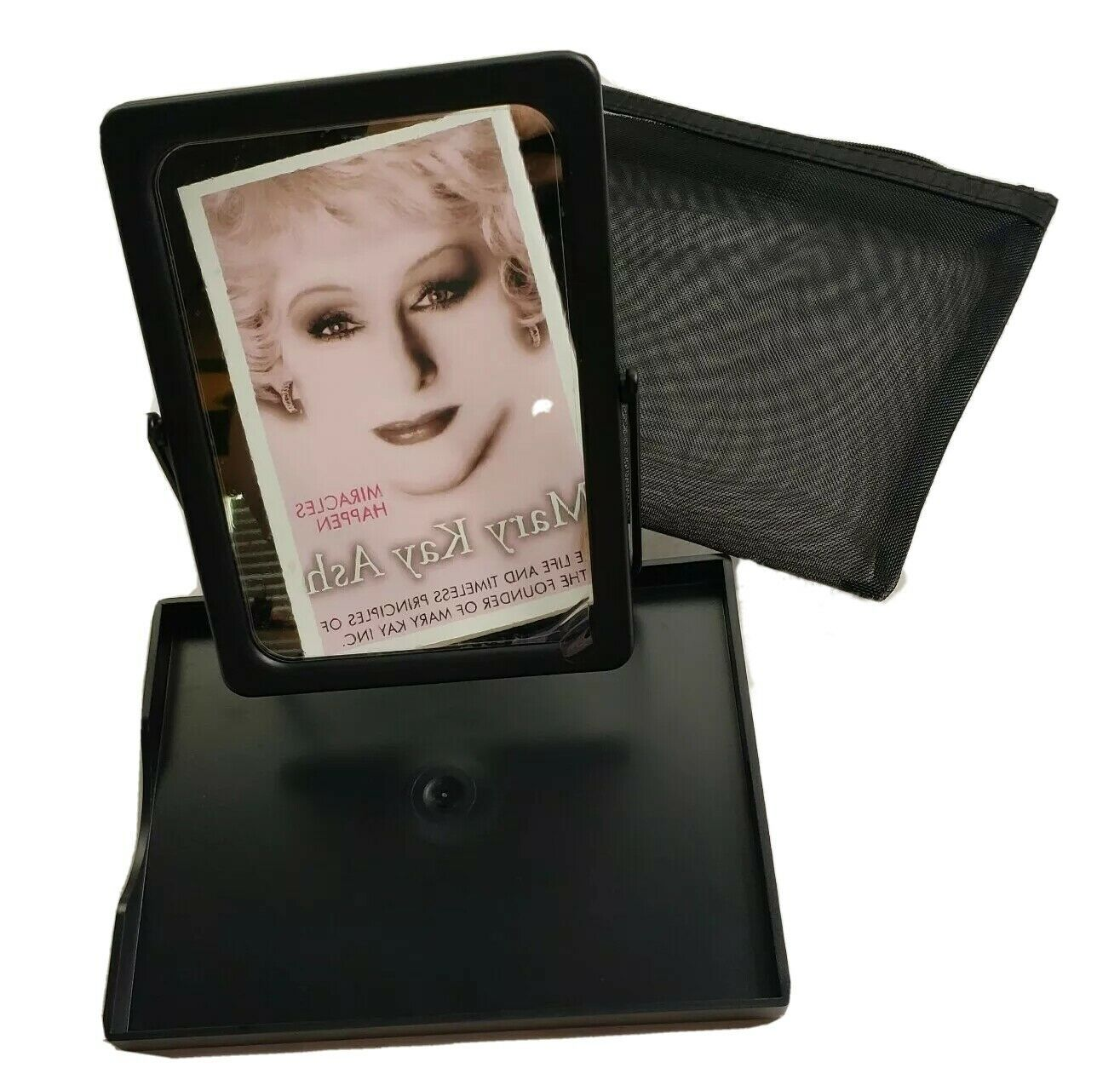 Black Mary Kay Travel folding Mirror W/ Tray And Mesh Carrying Case NEW - $8.65