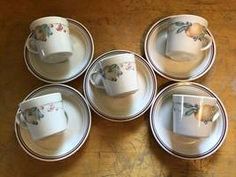 5 Corelle Corning Abundance Summer Fruits Fruit Pattern Cups & Saucers Sets - $14.55