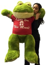 Giant Stuffed Frog Wears I Love You This Much Tshirt, 48 Inch Soft Big P... - $97.11