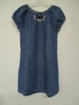 Children's Place Size 4T Girl's 100% cotton Denim Blue Short Sleeve Dress - $20.00