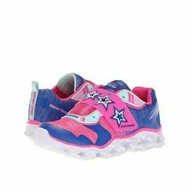 Skechers Youth Light Up Sneakers Cosmic Kick Size US 10.5 Blue Neon Pink - $9.94