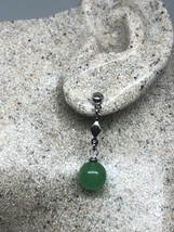 Vintage Green Jade Earrings White Gold Rhodium Bronze Dangle - $43.56