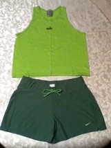 Nike short set-Lot of 2-Size med. tank top-Size 8-10 green shorts athlet... - $18.50