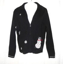 Woolrich Christmas Full Zip Cardigan Sweater Women Size M Snowman Black  - $24.73