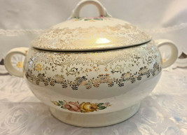Vintage Porcelain Soup Tureen w/ Lid & 2 handle soup cup Cabbage Roses & Gold