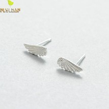 Flyleaf Brand Sterling Silver Angel Wings Feather Stud Earrings Women Creative L - $8.44