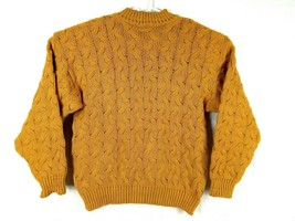 Vtg Ellis Island Men Sweater XL Mustard Yellow Crewneck Chunky Cardigan Pullove image 2