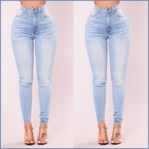 High Waisted Front and Back Pockets Zip Up Light Blue Denim Skinny Jeans Pants image 3