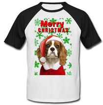 Cavalier Charles Spaniel snowflakes merry christmas - COTTON BASEBALL TS... - $19.53
