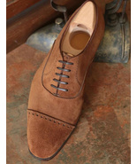Brown Classic Suede Balmoral Cap Toe Lace Up Oxfords Formal Handmade Men... - $156.73