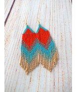 Long Bold Beaded Fringe Tassel Earrings, Orange Turquoise Statement Seed... - $25.00+