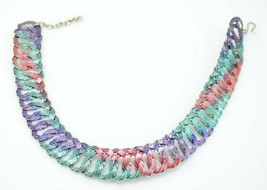 Pastel Purple Green Pink Braided Metal Mesh Choker Necklace Vintage - $24.74