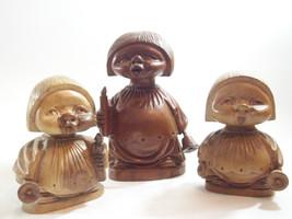 3 Hand Carved Wood Child Christmas Carolers Set Wooden Vintage Wooden Un... - $29.69