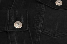 Men's Classic Distressed Casual Button Up Stretch Jean Trucker Denim Jacket image 7