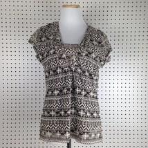Liz Claiborne Short Sleeve V-Neck Brown Floral Blouse Top Shirt Sz Medium - $11.69