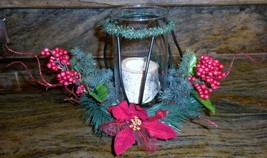 Handcrafted Christmas Log Candle Holder In Black Holder - $17.81