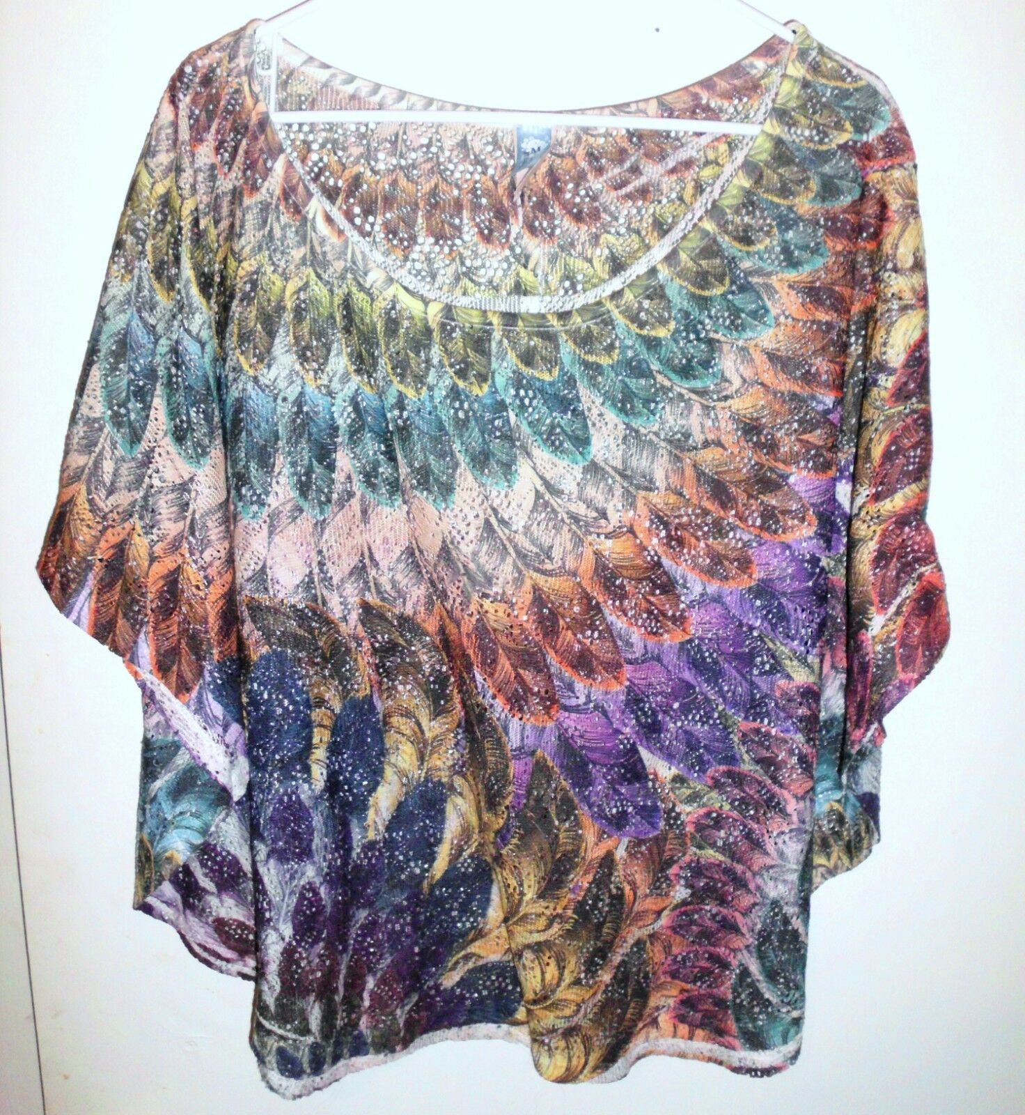 Primary image for M. FASIS Shirt Plus 2X Women Sheer Lace Feathers Dolman Sleeves Purple Orange