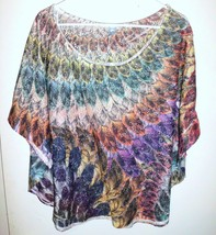 M. FASIS Shirt Plus 2X Women Sheer Lace Feathers Dolman Sleeves Purple O... - $19.79