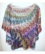 M. FASIS Shirt Plus 2X Women Sheer Lace Feathers Dolman Sleeves Purple O... - $19.79