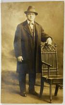 RPPC Handsome Gentleman Victorian Coat Walter Smith c1900s Posing Photo ... - $9.99