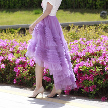 High-low Layered Tulle Skirt Outfit Plus Size Wedding Outfit Purple Tiered Skirt image 2