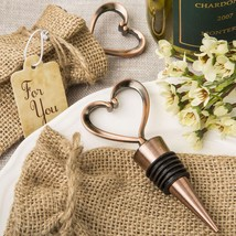Heart shaped metal bottle stopper in a Copper plated finish  in a burlap... - $4.99