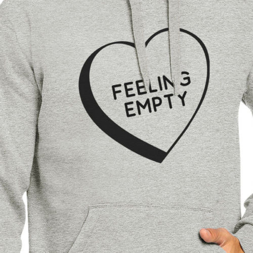 Feeling Empty Heart Unisex Grey Hoodie Letter Printed Cute Design