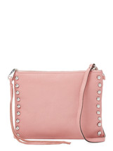Rebecca Minkoff Pink Jon Guava Leather Silver Studded Flat Crossbody NWT - $103.46