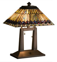 Tiffany Styled Peacock Oblong Desk Lamp w Stained Glass Lamp Shade - $724.68