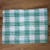 Pottery Barn Pillow Sham Quilted Aqua Blue White Plaid Checks Polka Dots  - $13.55