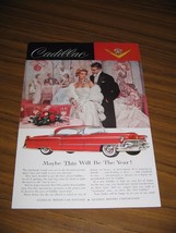 1955 Print Ad The'55 Cadillac Red 2-Door Well Dressed Couple at Party - $14.11