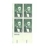 ABRAHAM LINCOLN 1 CENT STAMP PLATE BLOCK OF 4 #26248 - £0.76 GBP