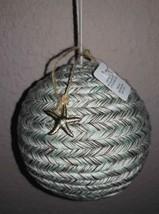 Beach Yarn Blue/Gray Wrap Ornament Christmas Ball Gold Starfish Seastar ... - $2.38