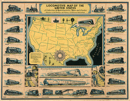 """1920 Pictorial Locomotive 11""""x14"""" Map of the United States Railroad Wall... - $12.38"""
