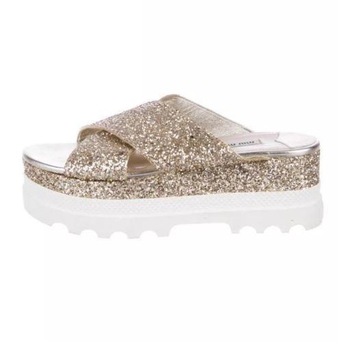 Miu Miu Gold Glitter Platform Sandals Size 38.5
