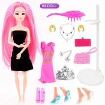 Princess Joint Body Doll With 2Pcs Dress And 17Pcs Accessories Set New G... - $11.99