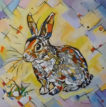 """Akimova: BUNNY, acrylic, 12""""x12"""", animal, abstract - $50.00"""