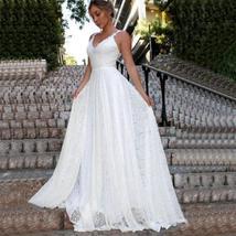Luxury Ivory Lace Wedding V-Neck Backless Wedding Dress