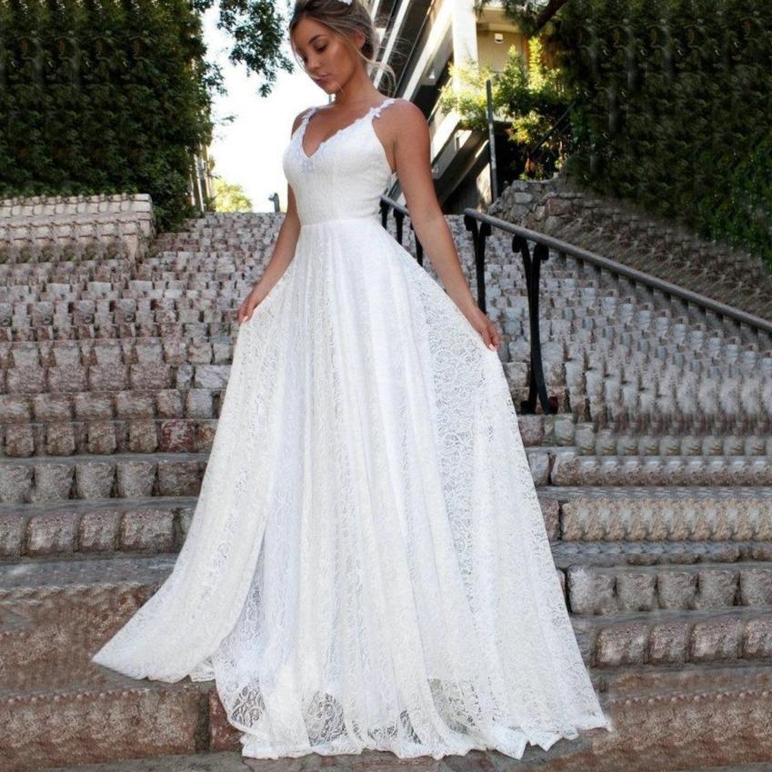 Uxury bohemian ivory lace wedding dress 2019 long wedding gowns v neck backless boho rural beach