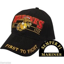 MARINE CORPS THE FIRST TO FIGHT SEMPER FI EMBROIDERED BLACK MILITARY HAT... - $31.58