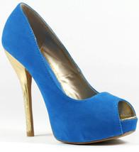 Turquoise Blue Velvet Gold High Stiletto Heel Open Toe Platform Dress Pump Qupid - $9.99