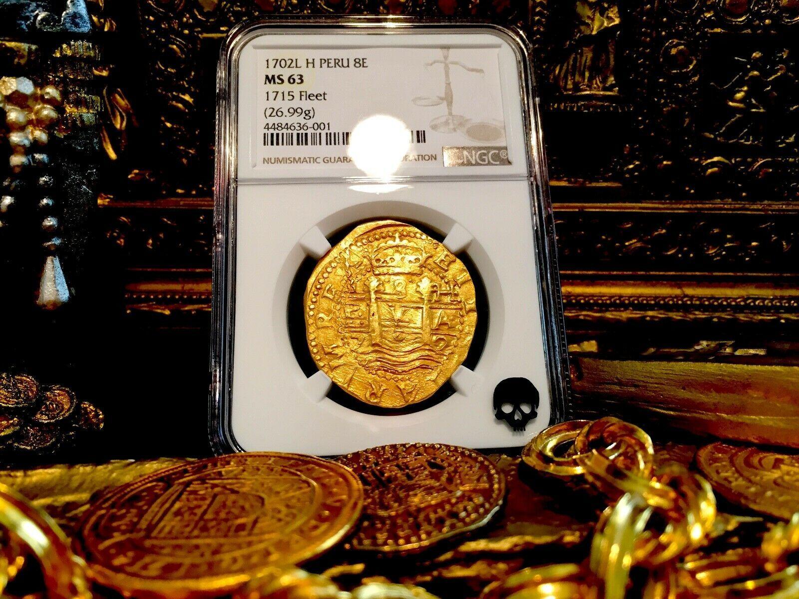 "PERU 8 ESCUDOS 1702 ""1715 FLEET SHIPWRECK"" NGC 63 PIRATE GOLD COINS TREASURE COB"